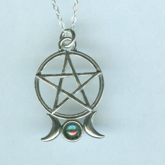 Sterling triple moon pentacle with aqua aura pendant and chain aloadofball Images