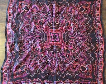 Vintage Oscar de la Renta Square Magenta/Dark Pink and Black Scarf. 100% Silk Scarf for Neck or Head.