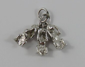 Three Wise Monkeys- Speak, See, Hear No Evil Sterling Silver Vintage Charm For Bracelet