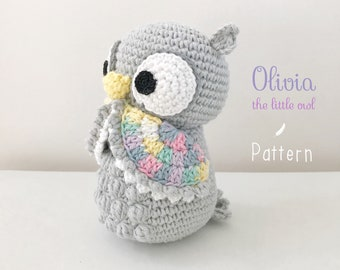 "PATTERN/ TUTORIAL (English) Amigurumi Owl - ""Olivia the Little Owl"" pdf - US terminology"