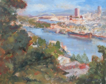 Impressionist City, Portland, Print of Original Oil Painting, Cityscape, Skyline
