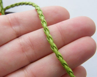 """4 Lime green leather braded necklace 46cm 18"""""""