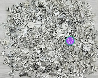 Clean bulk silver charm mix, fast shipping from USA, 10 to 100 charms, you can pick your charms or get a random charm assortment BCS