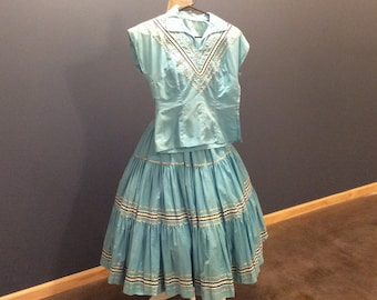 1950's Patio Set Fiesta Skirt and Blouse Blue with Rick Rack Southwest Indian Mexican