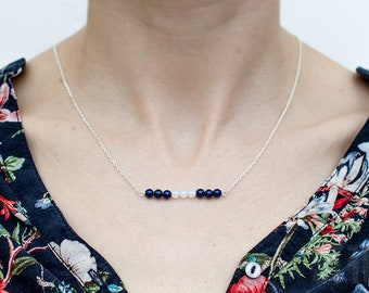 Sterling silver, lapis lazuli and opal necklace. Silver chain lapis lazuli necklace. Summer blue and white pendant. Delicate necklace.