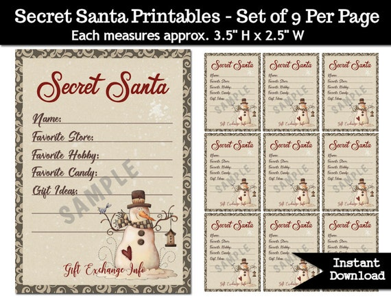 Secret Santa Gift Exchange Printable PDF Christmas Party