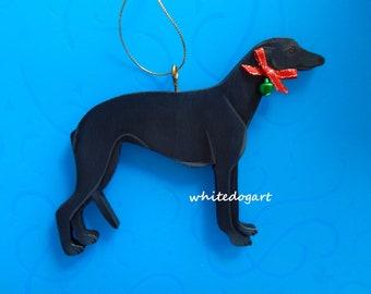 Handpainted Black Greyhound Christmas Ornament