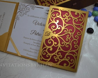 Wedding Invitations Laser Cut Gate-Fold Wedding Invitations Luxury Wedding Invitation Folio