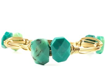 Chrysoprase Faceted Rectangle Wire Wrapped Bangles - Wire Jewelry - Gemstone Bracelet - St Patty's Day Green Jewelry - Courtney And Courtnie