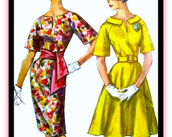"""UNCUT Vintage Simplicity Sewing Pattern 3791 - """"Simple to Make"""" Party Dress with Sash & Two Skirts  - Size 12, Bust 32"""