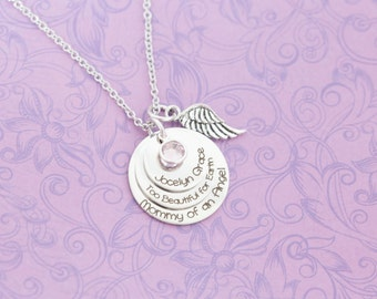 Engraved Mommy of an Angel - Triple Layer Angel Baby Memorial Pendant - Miscarriage Jewelry - Engraved Jewelry - Grief Jewelry