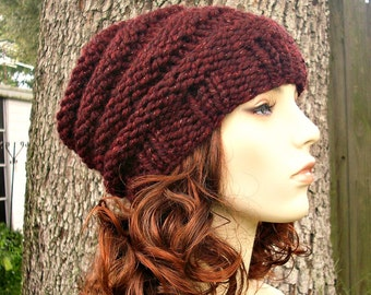 Red Womens Hat Slouchy Beanie Slouchy Hat - Beehive Beanie Red Wine Cabernet Knit Hat - Red Hat Red Beanie Womens Accessories Winter Hat