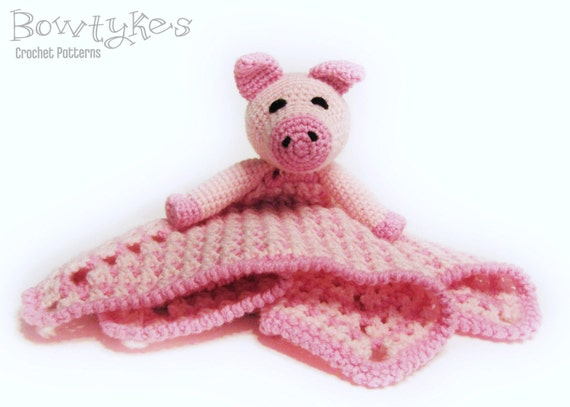 Piggy Lovey CROCHET PATTERN instant download - pig blankey, blankie ...