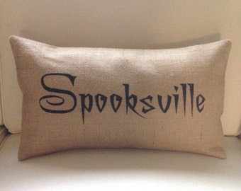 Halloween Spooksville burlap (hessian) pillow cover hessian cushion cover