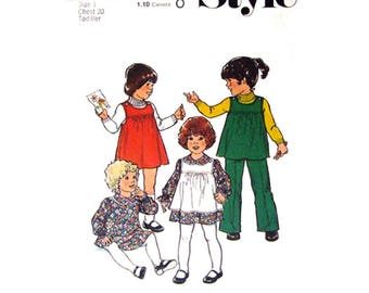 Toddler Girls Dress Pinafore or Tunic & Trousers Pattern Style 2007 Size 1 Buttoned Shoulder Jumper Girls Vintage Sewing Pattern