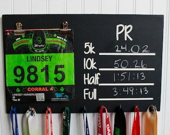 Carved Race Medal Display Chalkboard PR  Medal holder and bib holder - Running Medal Holder- Bib Holder