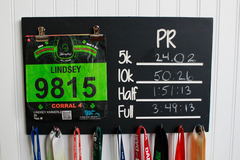 Carved Race Medal Display Chalkboard Pr Medal Holder And Bib