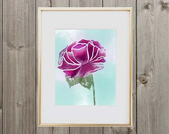 Digital Download Watercolor Floral Print 8x10 Instant Download Wall Art