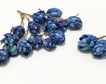 Artificial BLUE Hops Blossoms - Artifial Flowers, Silk Flowers, Flower Crown, Hair Accessories, Millinery, Corsage, Wedding Flowers, Tutu