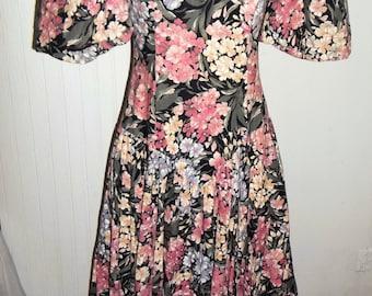 Floral Victorian Style Dress Vintage 80 Dress Leslie Luck Chintz Dress Princess Dress Tea Party Garden Party Dress Sz 8