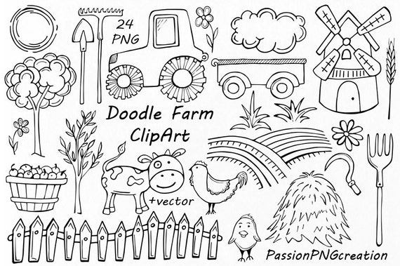 Doodle Farm Clipart Rustic clip art Coloring PNG EPS AI