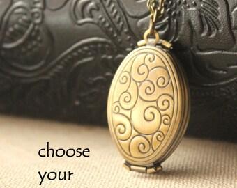 Multi photo Locket, Folding locket necklace, brass photo locket, four photo locket, Long Chain locket Necklace, bronze locket N186