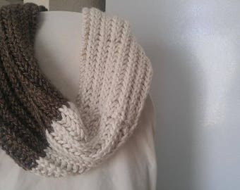Granite and Cream Super Chunky Infinity Scarf