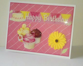 Birthday Card, SALE, handmade card, girl handmade birthday card,