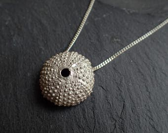 sea urchin Necklace, long necklace silver, organic necklace, sea shell necklace, beach jewelry, Sea urchin gold