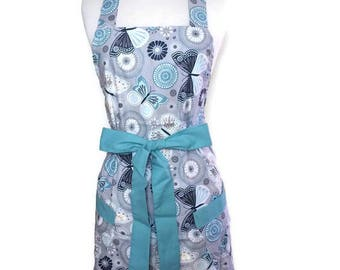 Classic Apron for women, Christmas gift, Teal Blue Apron, Teal ties, Butterflies Apron, optional monogram, gift for mom, cute pinup apron