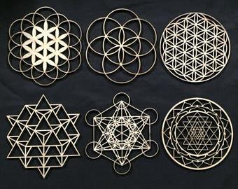 Sacred Geometry - Laser Cut, Stencil, Wall Art, Crystal Grid
