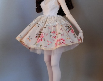 romantic lace FLOWER dress for Dollfie Dream; petticoat, stockings included; by Dollmino