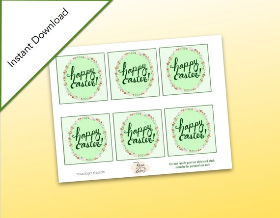 Happy easter gift tags easter mini cards floral happy easter favor happy easter gift tags easter mini cards floral happy easter favor tags 85 x 11 size printable easter basket gift tags from rosaclopez on etsy studio negle Image collections
