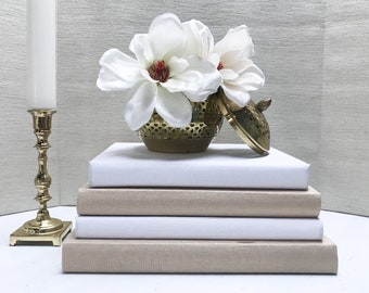Gold and White Coffee Table Books, Large Books, Shelf Decor