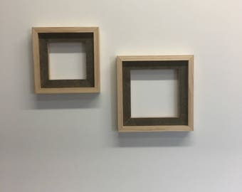 Reclaimed white oak and clean cut pine pricture frames.