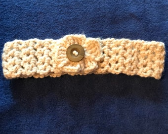 Handmade crocheted headband with flower & button