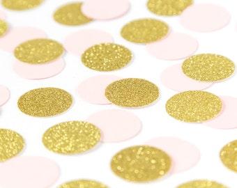Pink and gold Confetti. Birthday confetti. Blush Pink. Gold Glitter Confetti. First birthday party. 1st birthday girl. Party Decorations.