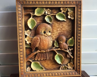 Vintage Owl Wall Hanging/Owl Mom and Baby Picture/Owl Nursery Decor