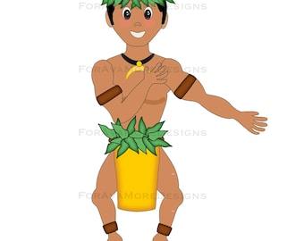 Kai Hawaiian Polynesian Wedding Hula Boy Groom SVG Digital Die Cut Pattern For Card Making