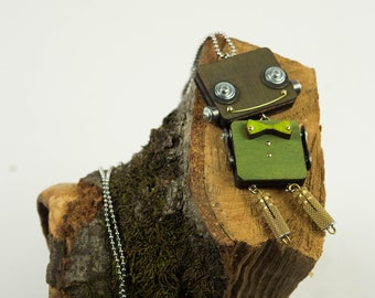 Green robot pendant with bow tie