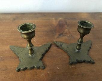 Vintage Brass Butterfly Candlestick Holders