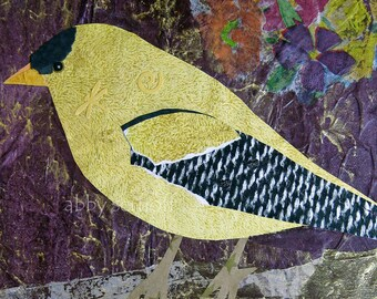 Fine Art Print of Original Mixed Media Goldfinch Collage Deepening Perceptions