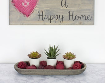 Love Builds A Happy Home Sign Wood Sign Macramé Wall Hanging Home Decor Wall Decor Entry Way Heart