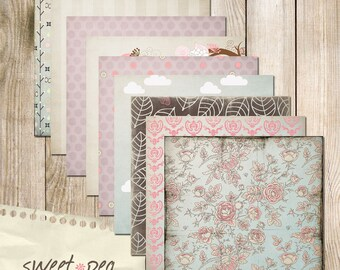 "Sweet Pea Digital Scrapbook Paper Pack (12x12""-300 dpi) - 9 Digital papers"