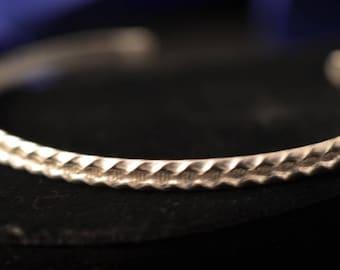 Sterling silver handmade patterned cuff bracelet