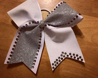 Tic toc cheer bow with rhinestones