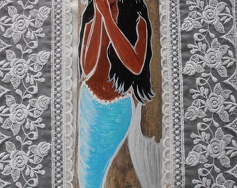 Beautiful Hand Painted  Afro-Caribbean Mermaid on driftwood/Bamboo, Bathroom Mermaid Decor