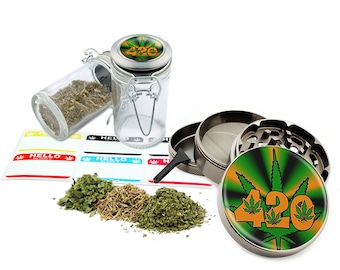 "Leaf Design - 2.5"" Zinc Alloy Grinder & 75ml Locking Top Glass Jar Combo Gift Set Item # G022115-028"