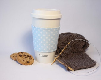 Coffee Cozy, Cup Cozy, Tea Cozy, Blue and Gray Polka Dot Reversible & Reusable Coffee Cup Sleeve, Stocking Stuffer, Bridesmaid Gift, For Her