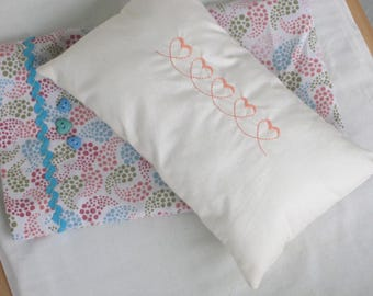 Doll Pillow Case and Embroidered Pillow - Doll Bedding, 18 Inch American Girl Doll Sized